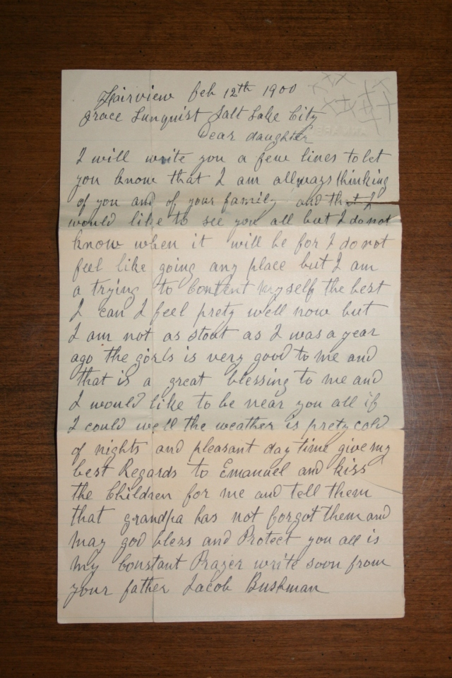 Bushman, Jacob Letter to Grace Bushman 1900 (1)