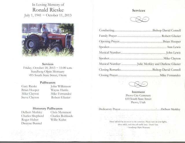 Ron Rieske's Funeral Program 001