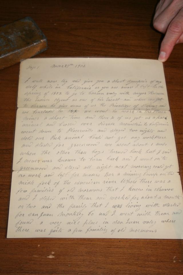 Bushman, Jacob Letter 1902 p. 1.