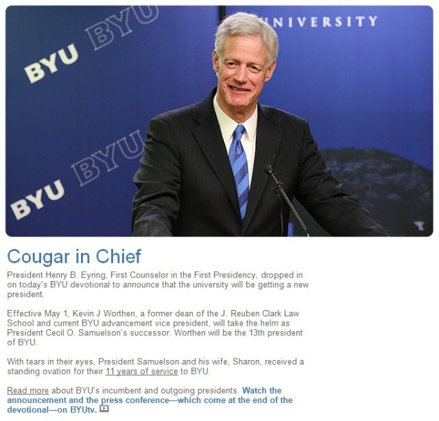 BYU President Kevin Worthen.