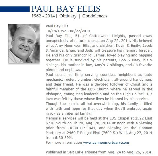 Paul B. Ellis Obituary Aug 2014