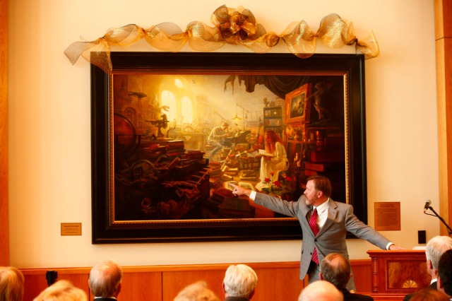 "1508-64 181 1508-64 Greg Olsen Painting Unveiling of Greg Olsen's new painting ""Treasures of Knowledge"" that will be displayed in the family room of the Gordon B. Hinckley Visitors and Alumni Center. The painting was commissioned by Leo and Annette Beus. August 19, 2015 Photo by Jaren Wilkey/BYU © BYU PHOTO 2015 All Rights Reserved photo@byu.edu  (801)422-7322"