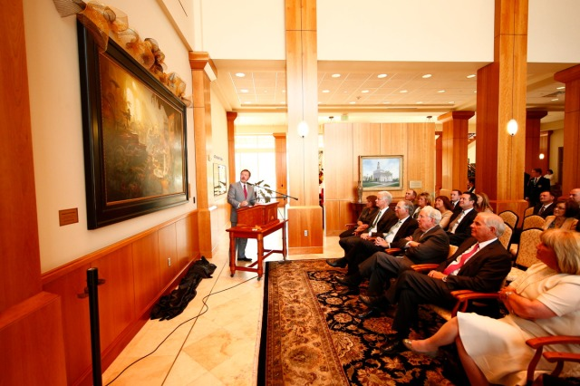 "1508-64 196 1508-64 Greg Olsen Painting Unveiling of Greg Olsen's new painting ""Treasures of Knowledge"" that will be displayed in the family room of the Gordon B. Hinckley Visitors and Alumni Center. The painting was commissioned by Leo and Annette Beus. August 19, 2015 Photo by Jaren Wilkey/BYU © BYU PHOTO 2015 All Rights Reserved photo@byu.edu  (801)422-7322"