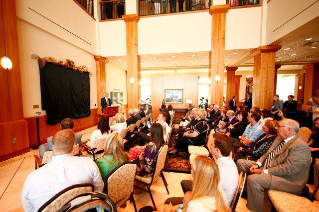 "1508-64 114 1508-64 Greg Olsen Painting Unveiling of Greg Olsen's new painting ""Treasures of Knowledge"" that will be displayed in the family room of the Gordon B. Hinckley Visitors and Alumni Center. The painting was commissioned by Leo and Annette Beus. August 19, 2015 Photo by Jaren Wilkey/BYU © BYU PHOTO 2015 All Rights Reserved photo@byu.edu  (801)422-7322"