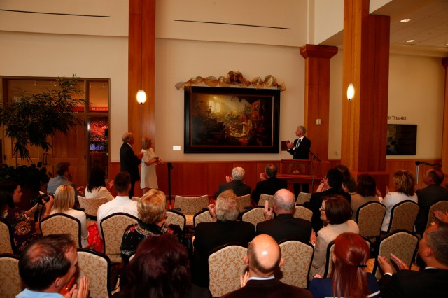 "1508-64 128 1508-64 Greg Olsen Painting Unveiling of Greg Olsen's new painting ""Treasures of Knowledge"" that will be displayed in the family room of the Gordon B. Hinckley Visitors and Alumni Center. The painting was commissioned by Leo and Annette Beus. August 19, 2015 Photo by Jaren Wilkey/BYU © BYU PHOTO 2015 All Rights Reserved photo@byu.edu  (801)422-7322"