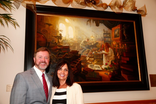 "1508-64 365 1508-64 Greg Olsen Painting Unveiling of Greg Olsen's new painting ""Treasures of Knowledge"" that will be displayed in the family room of the Gordon B. Hinckley Visitors and Alumni Center. The painting was commissioned by Leo and Annette Beus. August 19, 2015 Photo by Jaren Wilkey/BYU © BYU PHOTO 2015 All Rights Reserved photo@byu.edu  (801)422-7322"