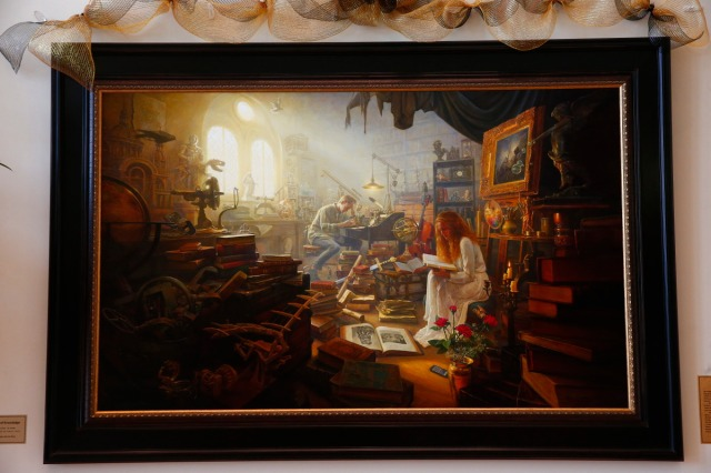 "1508-64 378 1508-64 Greg Olsen Painting Unveiling of Greg Olsen's new painting ""Treasures of Knowledge"" that will be displayed in the family room of the Gordon B. Hinckley Visitors and Alumni Center. The painting was commissioned by Leo and Annette Beus. August 19, 2015 Photo by Jaren Wilkey/BYU © BYU PHOTO 2015 All Rights Reserved photo@byu.edu  (801)422-7322"