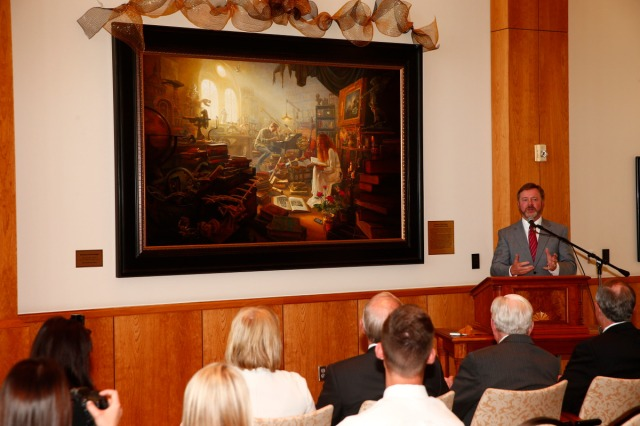 "1508-64 149 1508-64 Greg Olsen Painting Unveiling of Greg Olsen's new painting ""Treasures of Knowledge"" that will be displayed in the family room of the Gordon B. Hinckley Visitors and Alumni Center. The painting was commissioned by Leo and Annette Beus. August 19, 2015 Photo by Jaren Wilkey/BYU © BYU PHOTO 2015 All Rights Reserved photo@byu.edu  (801)422-7322"