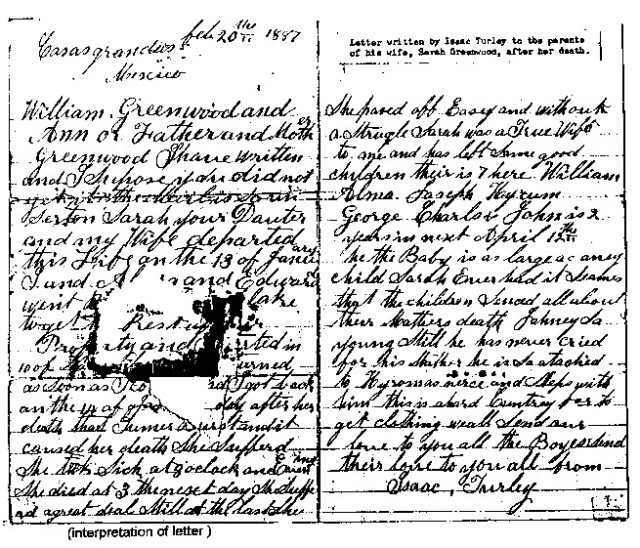 Turley, Isaac Letter 20 Feb 1887