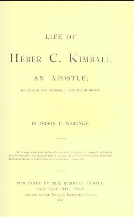 Heber C. Kimball, Life of, book