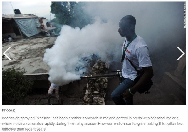 Malaria spraying