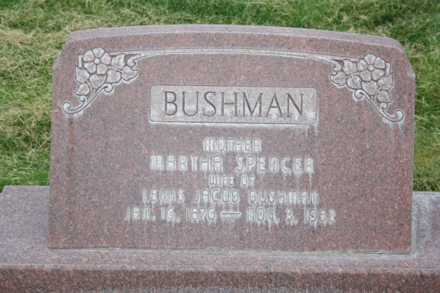 Bushman, Martha Spencer d. 1952 headstone, Lehi
